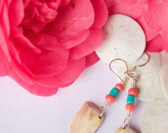 Pink Teal and Tan Mermaid Shell Earrings