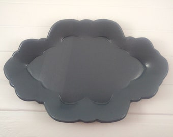 Navy Gray Oval Serving Plate
