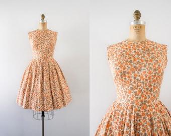 1960s Blossoming Beaut floral spring dress / 60s orange garden