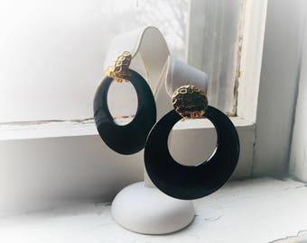 80's Onyx Large Interchangeable Black Flat Round Hoop Dangling Geometric Earrings Vintage Bold Jewelry
