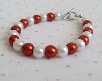Burnt Orange Bracelet, Burnt Orange Wedding Jewelry, Dark Orange Pearl Bracelet, Bridesmaid Jewelry Gift, Dark Orange Bridal Jewelry