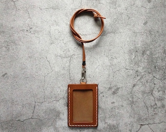 Brown Leather ID Holder Badge Holder ID Case
