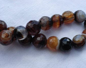 10 pearls 10 mm agate nacklace with Brown gradient