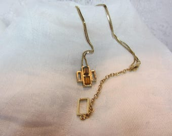 Givenchy Amber Glass and Gold Tone Finish Abstract Pendant Necklace