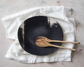 Ceramic Plate, Black Plate, Serving Plate, Cheese Plate, Ceramic Dinnerware, Oval Platter, Serving Tray, Modern Tableware, Handmade Plate