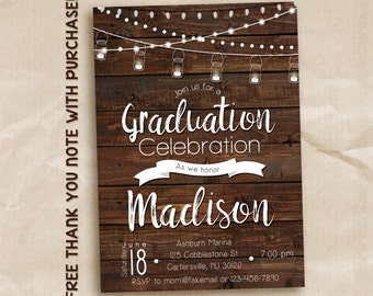 Mason jar graduation invitation / rustic graduation party invitation / graduation celebration / printable invitation