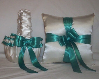 Ivory Cream Satin With Teal Green  Ribbon Trim Flower Girl Basket And Ring Bearer Pillow