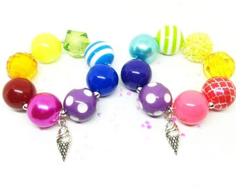 Girls bubblegum chunky rainbow ice cream cone bracelets favors - chunky party favors