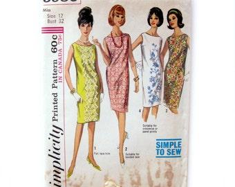 Vintage Sewing Pattern - Simplicity 5980 - 60s - Sleeveless Shift Dress / Size 12 - UNCUT