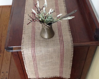 Burlap Grainsack Table Runner 12-14 x 36 or 48 Merlot French Striped Vintage Burlap Table Runner by sweetjanesplan