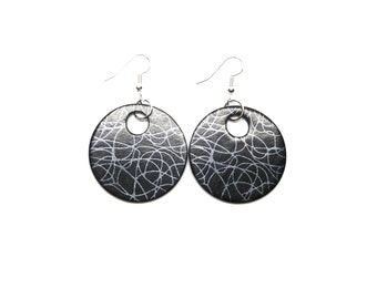 Black and Silver Doodle Pattern Round Drop Earrings, Round Earrings, Black Earrings, Disc Earrings, Silver Pattern, Gift For Her