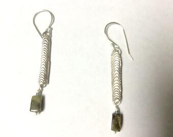 Long Sterling Silver Dangle Earrings with Green Garnets