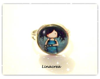 "Ring adjustable ""bluish black haired little girl"""