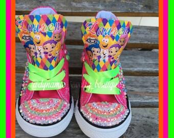 Bubble Guppies Converse,  bubble guppies  Chucks, jewels Converse, Custom Bling Converse, bubble guppies   Converse Chuck Taylor's