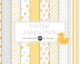 50% OFF SALE! Baby Shower Digital Paper, Neutral Nursery Background Paper - Commercial Use, Instant Download - V3
