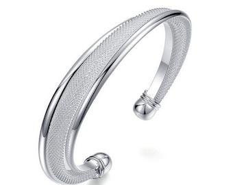 Silver Plated Mesh Cuff Bangle Bracelet
