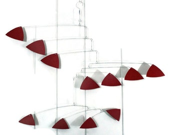 Red Mobile Triangle Style -Skysetter Mobiles Kinetic Art Sculptures Calder Inspired Housewarming Gift