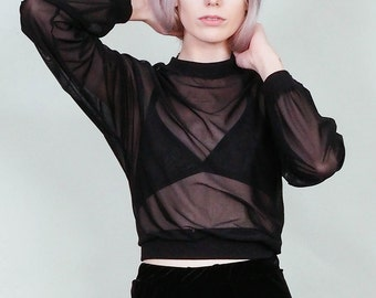 Azrael - Sheer black long sleeve loose fit blouse - dark boho rock