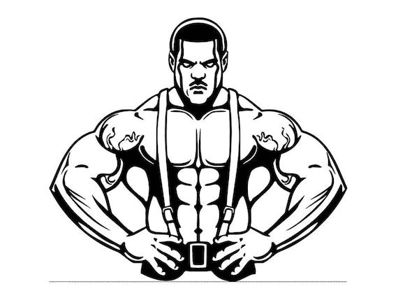 Bodybuilder 2 Bodybuilding Logo Back Pose Weightlifting