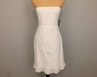 White Dress Strapless Sundress Cotton Eyelet Dress Sleeveless Size 4 Dress Summer Dress Beach Dress Cover Up XS Dress Womens Clothing