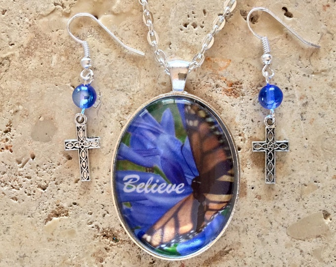 Hawaiian pendant, blue flowers and butterfly with cross earrings and blue glass beads with word Believe, Christian Inspirational Jewelry.