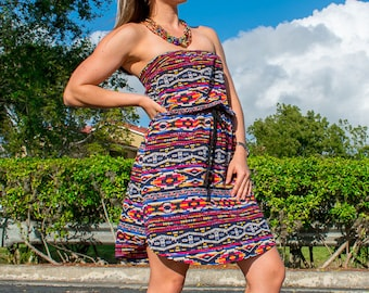 Tribal Summer Dress with Rope Belt