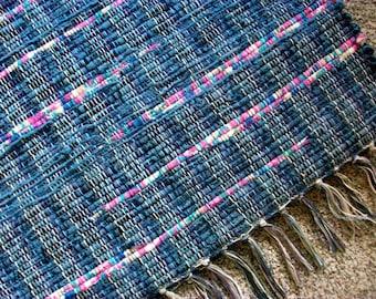 handmade woven rag rug blue and pink loom woven south dakota made