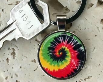 Tie dye spiral keychain, key chain, key ring, key fob, tie dye keychain, key chain, gift, spiral key chain, keychain #PA160