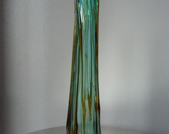 Vintage Retro Tall Blue Amber Drizzle Art Glass Vase