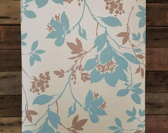 Carina Aqua Silhouette Floral Kenneth James Wallpaper 601-58434 - Sold by the Yard
