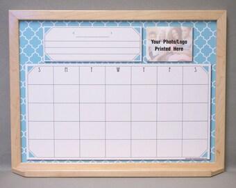 Ocean Blue Moroccan Tile Dry Erase Calendar - Blue/White Quatrefoil Print Whiteboard Calendar Personalized - Solid Wood Frame - Spanish Tile