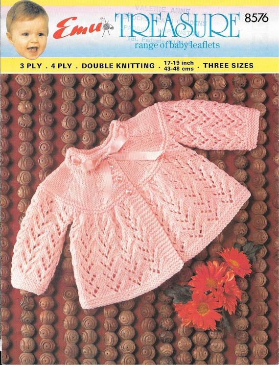 Vintage Emu Baby Knitting Pattern Size 17 19 6 12