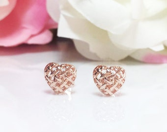 Heart Earrings, Gold Heart Earrings,Rose Gold Heart Studs, Gold Studs, Love Earrings,Minimalist Studs,Everyday Jewelry, Gold Filled Studs