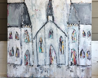 Church painting/church art/abstract painting/original church painting/acrylic painting/original painting/church