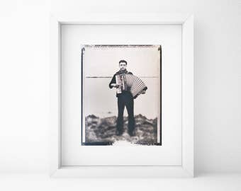 Accordion Player, Musician, Cyanotype Print, Portrait, Original, Blue, Cyan, Home, Cabin, Shabby Chic, Vintage Art,Polaroid, Photography