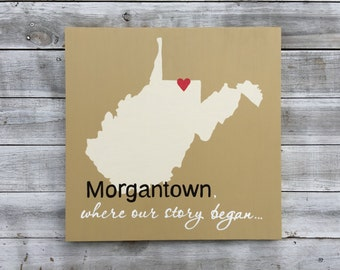Wood state sign, Mother's Day Gift, Where our story began Wall Wood Art, Wooden West Virginia Map sign, Unique Wedding gift.