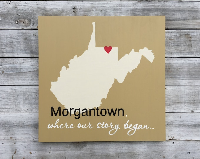 Wood state sign, Father's Day Gift, Where our story began Wall Wood Art, Wooden West Virginia Map sign, Unique Wedding gift.