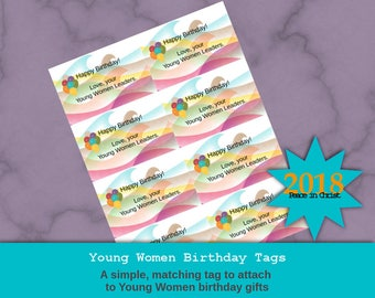 """Young Women birthday tags; Peace in Christ/Peace in Me design: """"Happy Birthday, Love your Young Women leaders!"""""""