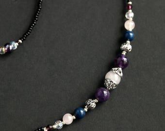 Glasses Chain or Badge Lanyard. Amethyst Lanyard. Lapis Lazuli Eyeglass Holder. Rose Quartz Badge Necklace. Gemstone Lanyard Eyeglass Chain.
