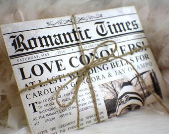 Newspaper Wedding Invitations | Romantic Times | Vintage | News | Unique Invitation | Ivory | Twain | Photo | Sepia | Brown | Ivory