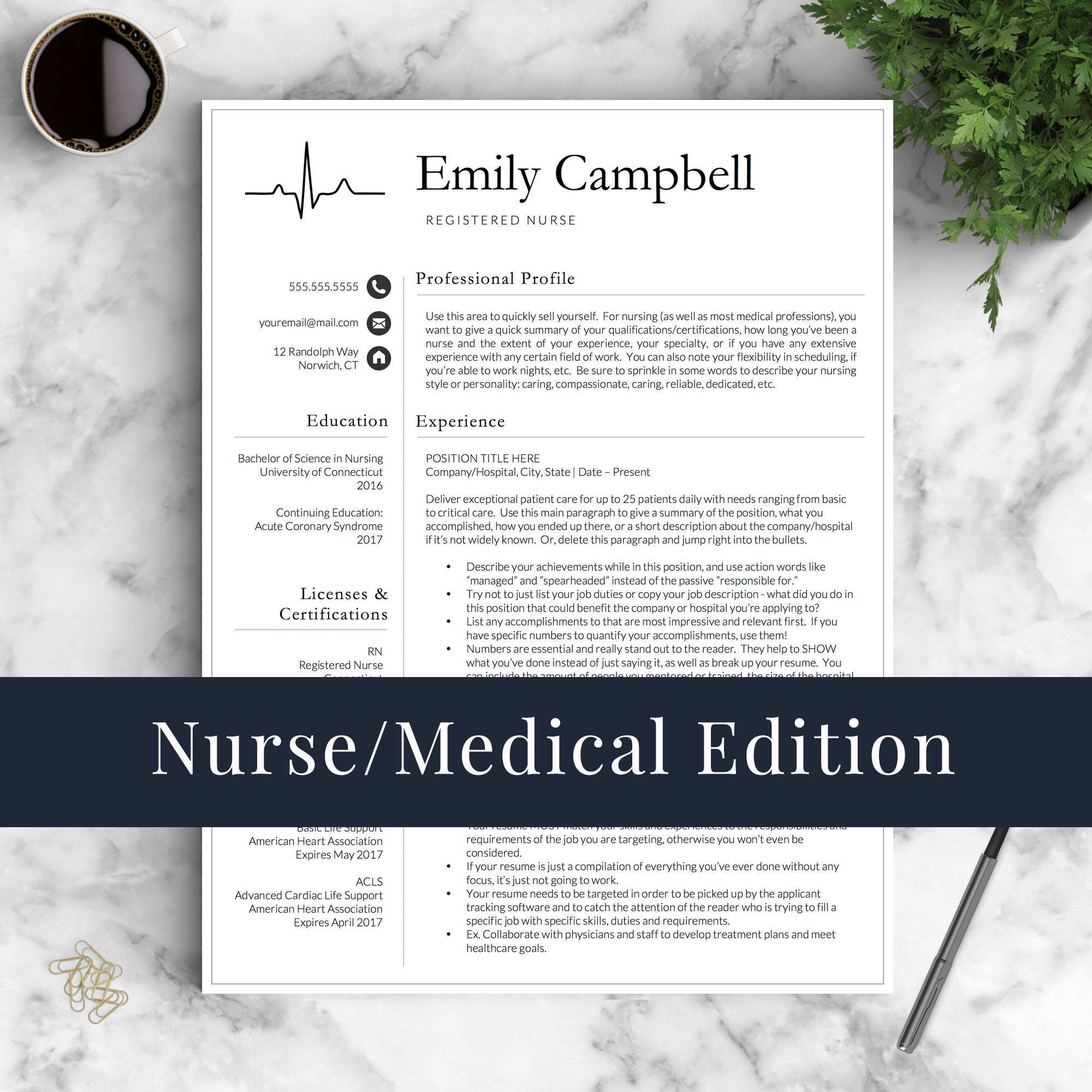 Nurse Resume Template for Word & Pages / Medical Resume Nurse