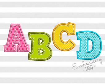 Coupon Codes! BX included! H-Stitch Applique Alphabet Font Machine Embroidery Design 4 sizes AL023