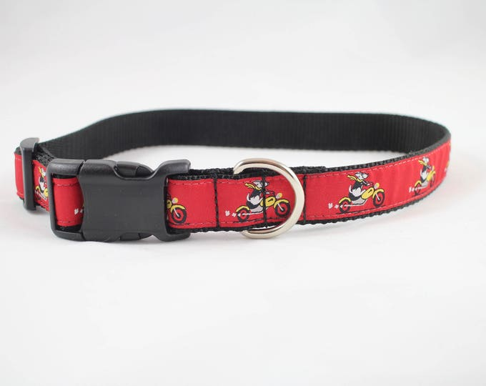 go dog go, bike collar, cycle collar, red collar, dog collar, pet gift, dog accessory, woven jacquard collar