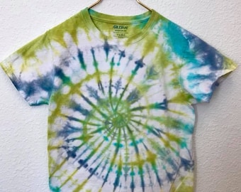 Green, Lime, Blue, and Aqua Swirl Tie Dye T-Shirt, Adult Size Small