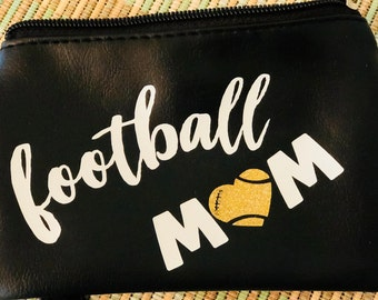 Small Cosmetic Bag- Mini Cosmetic Bag-Coin Purse-Football Mom-Small Card Holder-Small Pouch