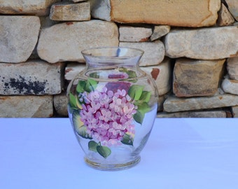 Hand Painted Glass Vase with Pink Hydrangea