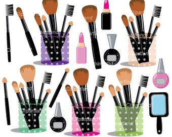 INSTANT DOWNLOAD. Makeup brush set. Cosmetics clipart. Personal and commercial use.