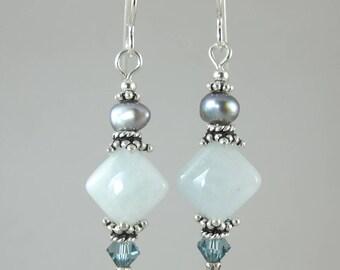 FREE SHIP aquamarine earrings