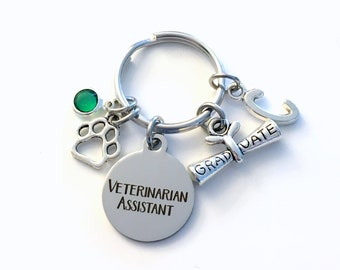 Graduation Gift for Veterinarian Assistant Keychain, Vet Assist Key Chain, Initial Birthstone Present Graduate men women her him scroll paw