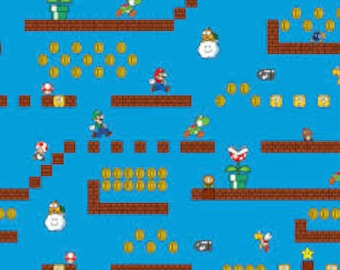 """Super Mario, Game Screens, Nintendo by Springs Creative, by the half yard - 43""""W, 100% cotton, video game fabric, mario fabric"""